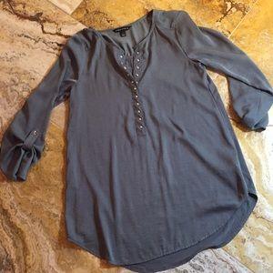 Rock & Republic steel gray/olive green stud tunic
